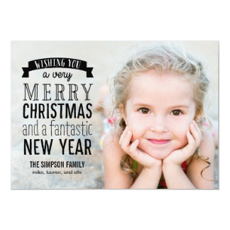 Merry Message Holiday Photo Card - Overlay 13 Cm X 18 Cm Invitation Card