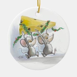 Merry Mice Mic & Mac Circle Ornament