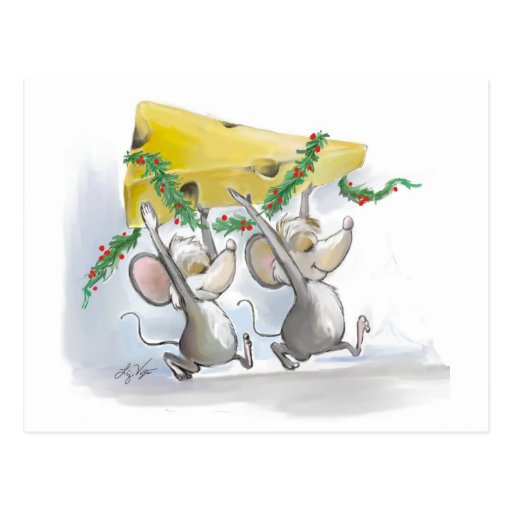 Merry Mice Mic & Mac Holiday Postcard