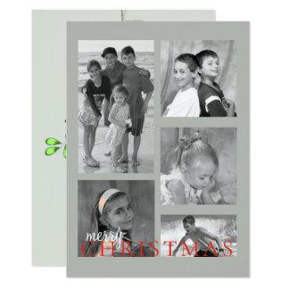 Merry Mistletoe Double Sided Photo Card in grey