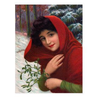 Merry Mistletoe Maiden Postcard