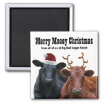 Merry MOOEY Christmas Cows Funny Fridge Magnet