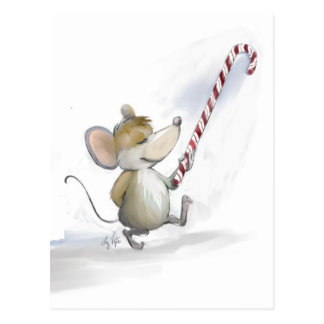 Merry Mouse Moe Holiday Postcard