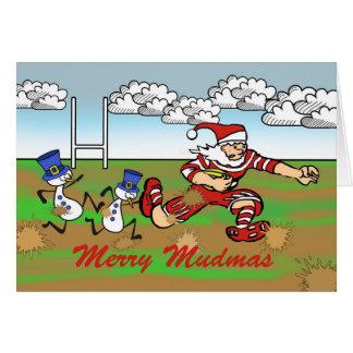 Merry Mudmas, Santa and Snowmen Rugby in the Mud Card