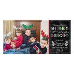 Merry n Bright Holidays Modern Photo Christmas Customised Photo Card
