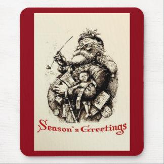 Merry Old Santa Claus Season's Greetings Mouse Pad