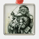 Merry Old Santa Claus Silver-Colored Square Decoration