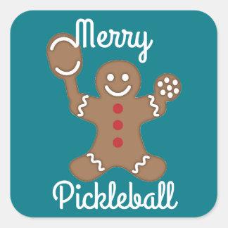 Merry Pickleball Square Sticker