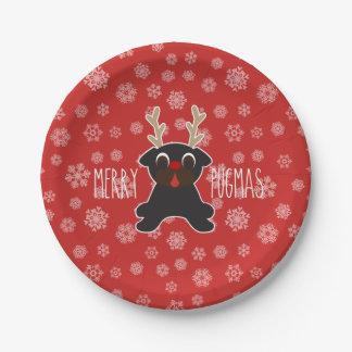Merry Pugmas Black Pug Reindeer and Snowflakes Paper Plate
