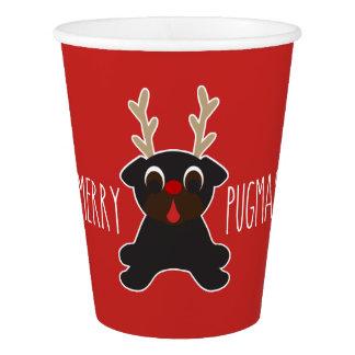 Merry Pugmas Christmas Pug Reindeer Paper Cup
