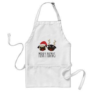 MerryPugmasChristmasSantaand Reindeer Pugs Standard Apron