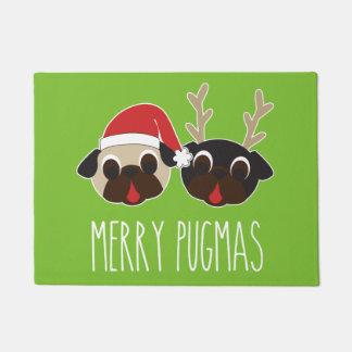 Merry Pugmas Christmas Santa Pug Reindeer Pug Doormat