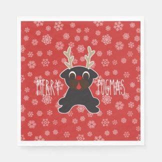 Merry Pugmas Pug Reindeer Christmas Snowflakes Disposable Serviette