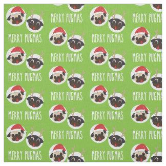 Merry Pugmas Pug Santa and Reindeer V2 Fabric