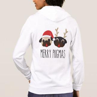 Merry Pugmas Santa and Reindeer Hoodie