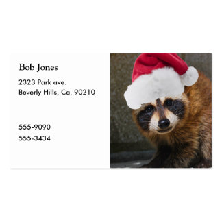 Merry Raccoon Christmas Double-Sided Standard Business Cards (Pack Of 100)