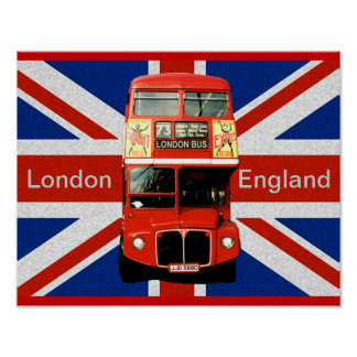 Merry Red Bus and British Flag Poster