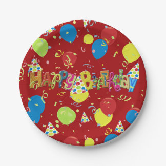 Merry Red Happy Birthday Paper Plate
