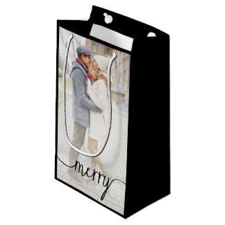 Merry Script Custom Photo Gift Bag / Black Small Gift Bag