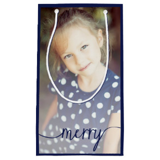 Merry Script Custom Photo Gift Bag / Navy Small Gift Bag