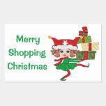Merry Shopping Christmas Rectangle Sticker