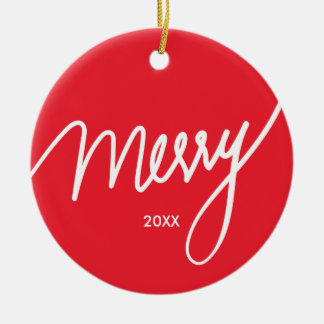 Merry | Simple & Chic Hand lettered Christmas Ceramic Ornament