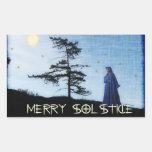 Merry Solstice Night Rectangular Stickers