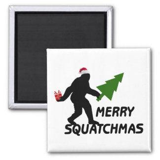 Merry Squatchmas Square Magnet