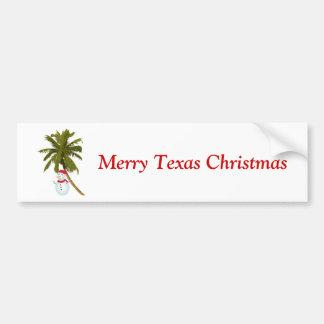 Merry Texas Christmas, snowman under palm Bumper Sticker