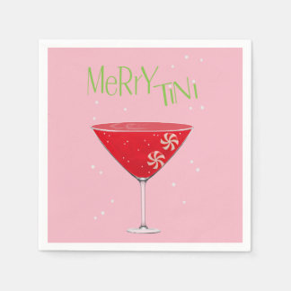 Merry-tini Merry Martini Holiday Party Napkins Disposable Serviette