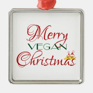 Merry Vegan Christmas Metal Ornament