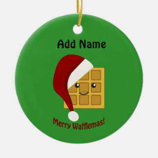 Merry Wafflemas Christmas Waffle Ceramic Ornament