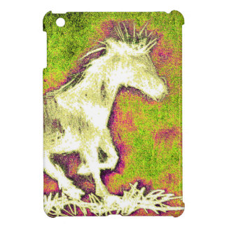 Merry Warm Holidays white horse iPad Mini Covers