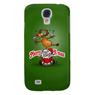 Merry X-mas from Santa Claus and his reindeer Galaxy S4 Cases