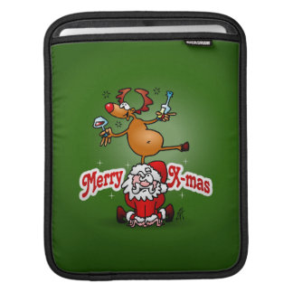 Merry X-mas from Santa Claus and his reindeer iPad Sleeve