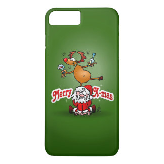 Merry X-mas from Santa Claus and his reindeer iPhone 8 Plus/7 Plus Case