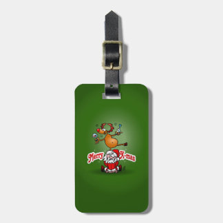 Merry X-mas from Santa Claus and his reindeer Luggage Tag
