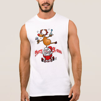 Merry X-mas from Santa Claus and his reindeer Sleeveless Shirt