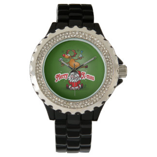 Merry X-mas from Santa Claus and his reindeer Watch