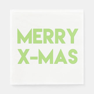 Merry X-Mas, Modern Green Typography Christmas Paper Napkins