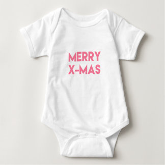 Merry X-Mas, Modern Hot Pink Typography Christmas Baby Bodysuit