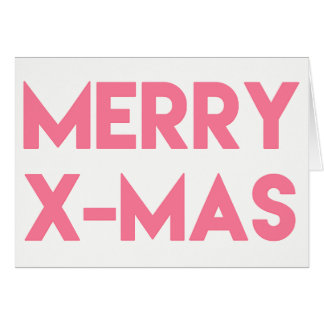 Merry X-Mas, Modern Hot Pink Typography Christmas Card