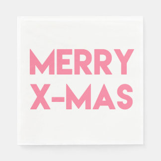 Merry X-Mas, Modern Hot Pink Typography Christmas Disposable Serviette