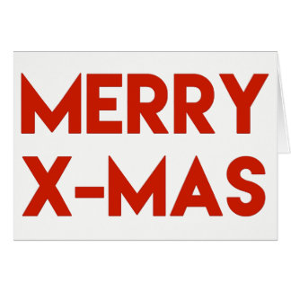 Merry X-Mas, Modern Red Typography Christmas Card