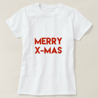 Merry X-Mas, Modern Red Typography Christmas T-Shirt