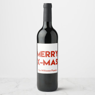Merry X-Mas, Modern Red Typography Christmas Wine Label