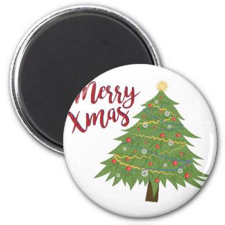 Merry Xmas 6 Cm Round Magnet