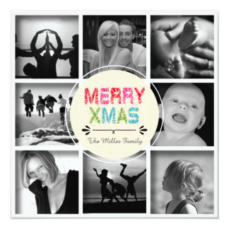 Merry Xmas 8-Photo Collage Holiday Card 13 Cm X 13 Cm Square Invitation Card