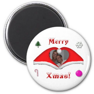 Merry Xmas a photo in a heart shaped Xmas-hats 6 Cm Round Magnet