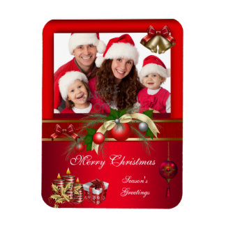 Merry Xmas Add Photo Red White Christmas Flexible Magnets